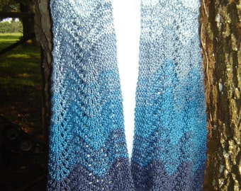 PATTERN Gradient Ombre Knitted Shawl Wrap Stole Shades of Blue Navy Royal Denim Sky Baby Pale