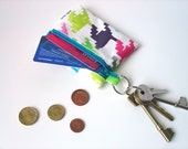 EarBud Pouch / Business or Credit Card Holder / ID wallet in turquoise houndstooth Oilcloth