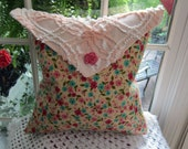 Hand Made Peachy Floral Flannel Envelope Pillow -w- Chenille Envelope Top Shabby Chic - Chenille Bedspread