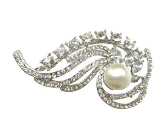 2pc Pearl Crystal Rhinestone Brooch - for Wedding Brooch Bouquet Gift Box Hair Accessories Headpiece Sash BRO-025 (65mm or 2.6inch)
