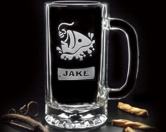 Gifts for Groomsman - FISHING BEER MUGS - Fly Fishing Ice Fishing Etched Glass Gifts 16oz Engraved Glass Beer Mugs - Distinct Glass Studio