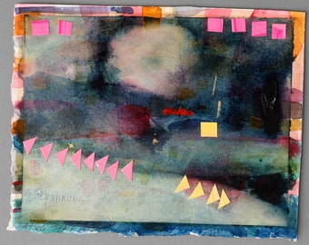 lake watercolor collage paper art yellow pink original abstract composition night