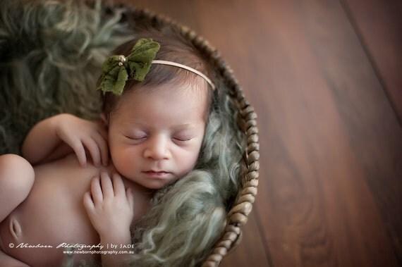 Green Lace Fabric Bow Headband