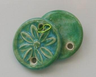 2 Handmade Artisan Ceramic Floral Connector Earrings Pendants 6103112