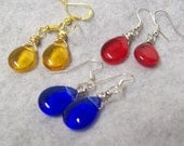 Teardrop Dangle Earrings, Sapphire, Ruby or Topaz Bead Earrings, Wire Wrapped Briolette Earrings