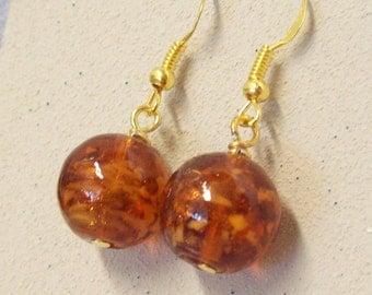 Dangle Earrings, Amber Glass Beaded Earrings, Bargin Earrings