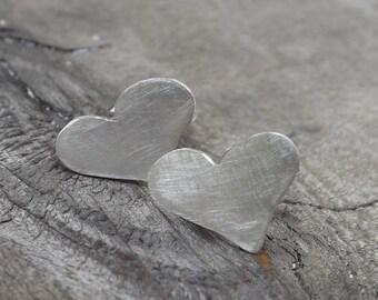 Petite Love Heart Stud Earrings, Sterling Silver Studs, Modern Stud Earrings on Etsy.