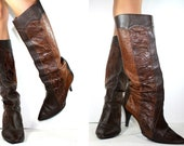 Vintage riding high heels women two toned textured brown tall knee high Leather fashion boots campus 8.5 M B