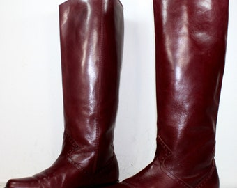 Vintage riding flats women maroon burdundy pixie Leather fashion boots pirate 6 M B