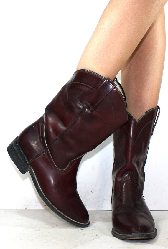 Vintage Justin Roper cowboy panton mid calf womens maroon burgundy cow boy cow girl Leather western fashion boots 5.5 B M