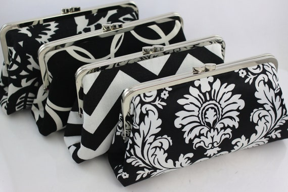 Black & White Color Scheme - 8 inches Bridal and Bridesmaid's Silver Frame Clutches - Set of 4