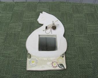 Ceramic Cat Mirror Handmade Stoneware Pottery White