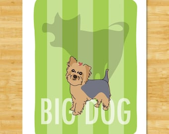 Yorkie Art Print - Big Dog with Shadow - Yorkshire Terrier Gifts Funny Dog Pop Art Prints