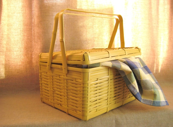 Large Picnic Basket in Sunny Yellow