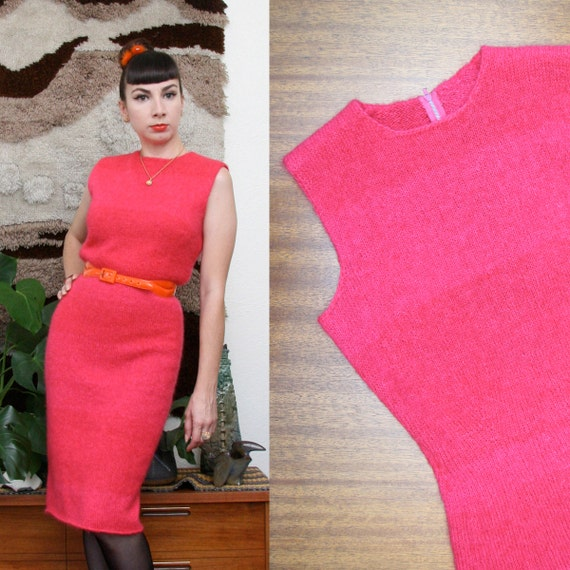 Vintage 60s Hot Pink Knit Wiggle dress