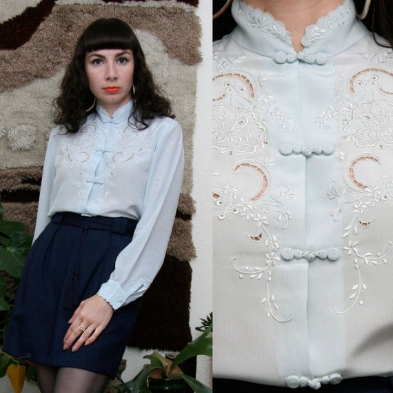 Vintage 70s 80s Baby Blue Embroidered Blouse Medium