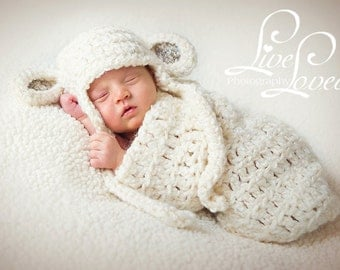 Download PDF crochet pattern s008 - Newborn Sheep earflap hat and cocoon