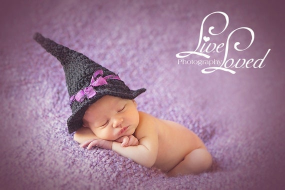 Download PDF crochet pattern 052 - Witch hat - Multiple sizes from newborn through 4 years old