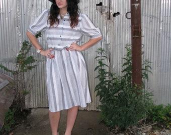 Vintage 1970s OOPS California STRIPED Secretary Dress