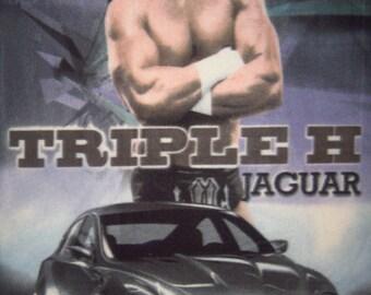WWE Wrestling Triple H New Panel Fleece Fabric Throw Blanket or Wall Hanging New