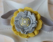 Yellow and Grey Felt Flower Headband with Covered Button- Hard Plastic or Soft Elastic Headband