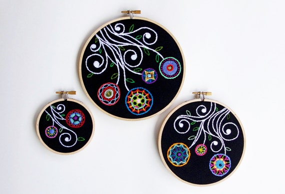 Embroidered Flower Gardens in Rainbow Colors and Black, SET of Three Embroidery Hoops Fiber Wall Art for the Home