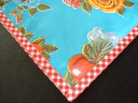 48x48 Oilcloth Tablecloth Lemons and Roses Light Blue with Red Gingham Trim