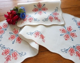 Unused Vintage Art Nouveau Cross Stitched Dresser Scarves/Table Runners