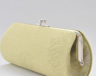 Floral Elements in Pear Green..Small Clutch Purse