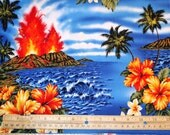 1 .14 yards- Tropical Islands Fabric Volcano FABRIC
