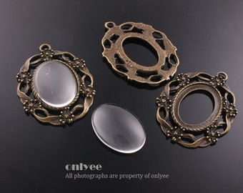 4PCS-45mmX33mmAntique Bronze Plated Brass Pendant tray Settings of 18mmX25mm with Domed Glass Cabochons (E319B)