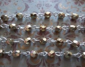 Faceted Gold 4mm Fire Polished Glass Beads on Silver Beaded Chain - Qty 18 inch strand