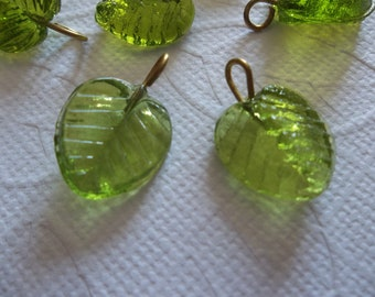 Olive Green Glass Leaf Charms Beads Leaves with Brass Loops 13mm X 12mm - Qty 12