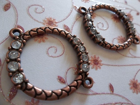 Antiqued Copper Connector Rings with Clear Rhinestone Accents - Qty 5
