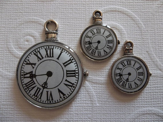 Steampunk Style Pocket Watch Pendant & Charm Set White Clock Face with Roman Numerals