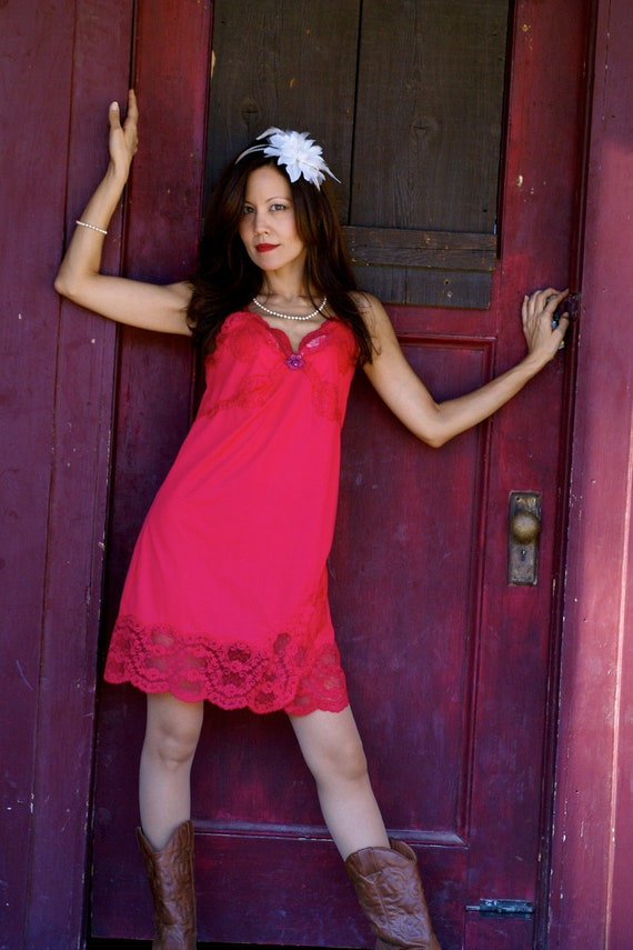 """1950s Vintage Fuchsia Pink Vintage Slip by Rogers-""""Swing Time"""""""