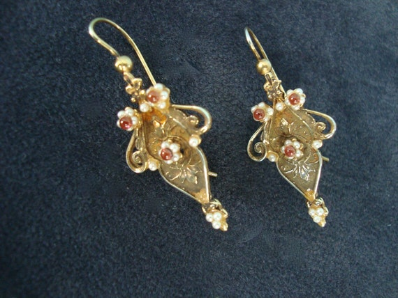 Reserved for peonybell Etruscan style gold washed sterling earring with pearls and garnet french ear wire