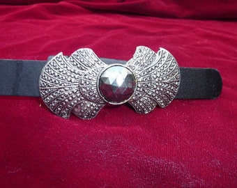 Vintage Marcasite Black Skinny Belt Buckle sparkly stunning Accessories by Pearl