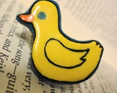 Handmade Yellow Duck Pin Brooch