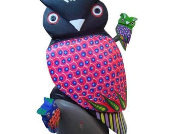 Owl carved copal wood carved hand painted oaxacan wood carving mexican folk art oaxacan animals oaxacan animals owl