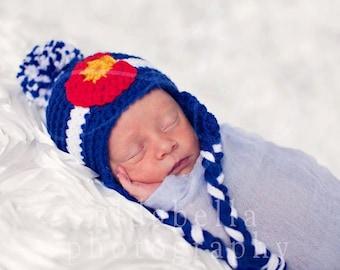 Newborn Colorado Flag Beanie w/ earflap's & pompoms