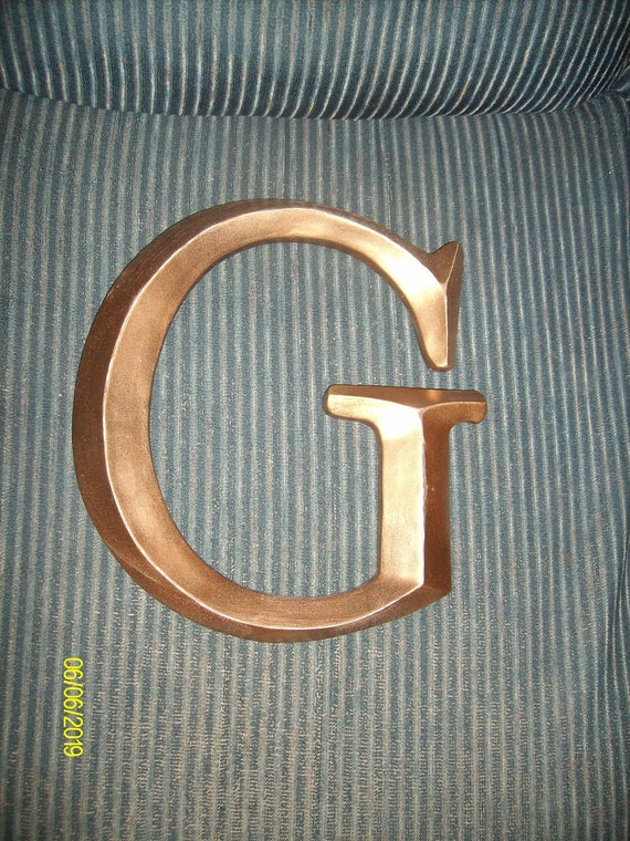 Large 12 gold painted letter g wall decor by for Gold wall decor letters