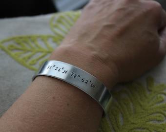 Geographical Coordinates Aluminum Cuff Bracelet