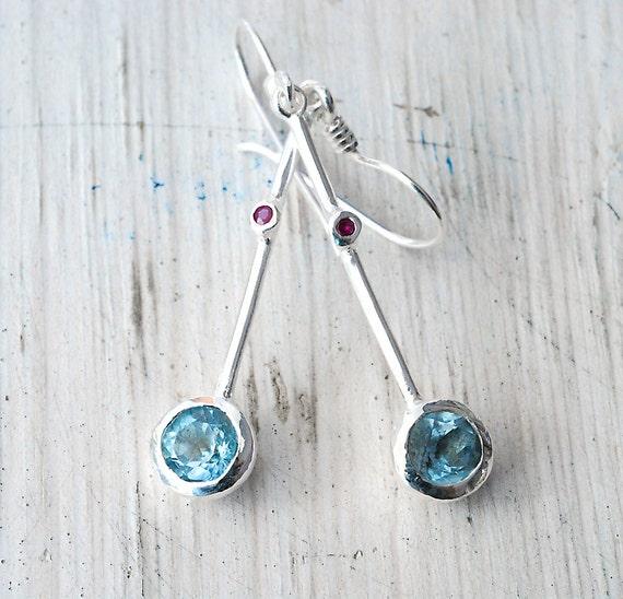Sky Blue Topaz Scarlet Red Ruby Earring, Sterling Silver Dainty Earring, Aqua Blue Jewelry, December Birthstone, Minimalist, Spring Fashion