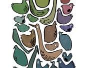 BIRDS Giclee Print A5
