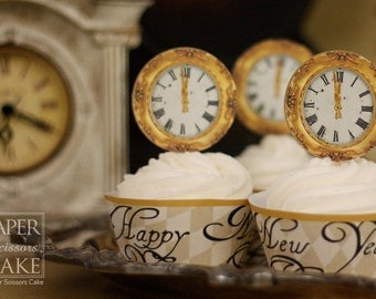 Happy New Year, 1700s Paris Inspired New Years Eve Printable Cupcake Topper And Wrapper Set- Simply Print, Cut, Assemble, Enjoy