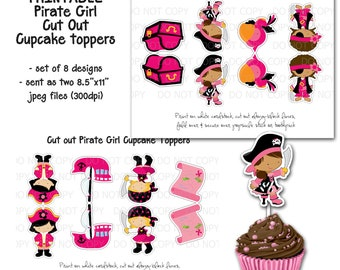 Printable DIY Cut Out Pink Pirate Girl Cupcake Toppers