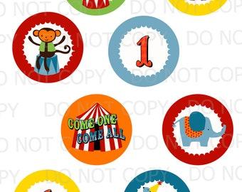 Printable DIY Circus Theme Cupcake Toppers