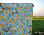 Modern Gender Neutral Patchwork triangle baby quilt - Yellow, Aqua, Gray