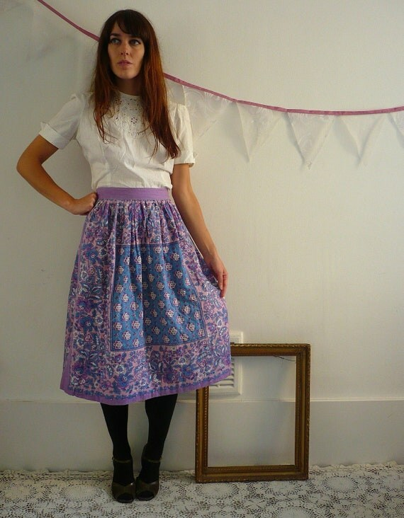 1970's Vintage Indian Cotton Quilted Skirt Size Small